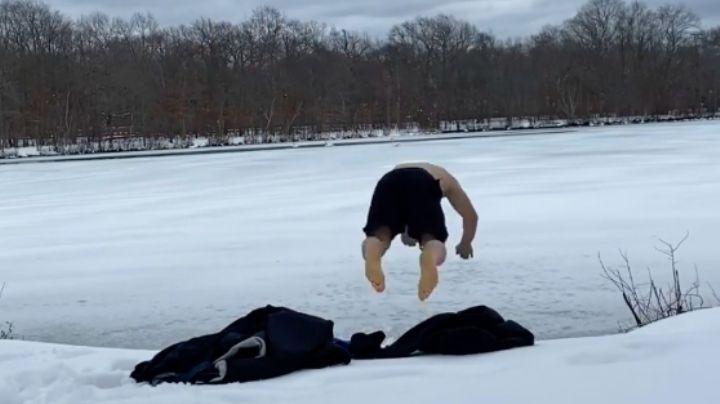 VIDEO: Luchador de la UFC brinca a un lago congelado y resulta con lesiones en la cabeza