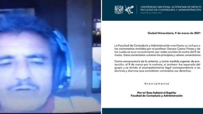 """UNAM sanciona a maestro que culpó a víctimas de feminicidio: """"Si se mueren es por algo"""""""