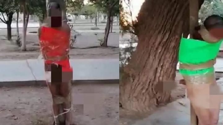 Justicia por mano propia: Golpean, desvisten y exhiben a supuestos ladrones en Sonora