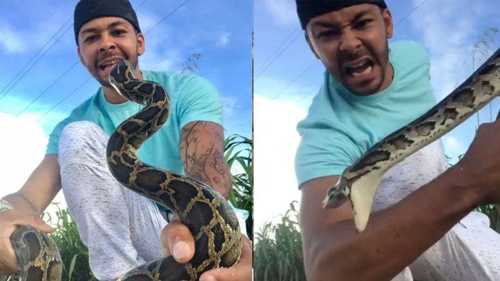 FUERTES IMÁGENES: Youtuber es atacado en la cara por una serpiente mientras grababa
