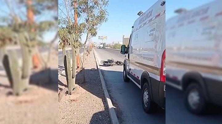 Embisten a motociclista en la carretera Navojoa-Obregón; lo trasladan a hospital con severas heridas