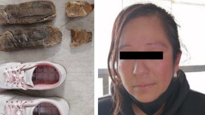Sonora: Capturan a mujer que ocultaba más de medio kilo de cocaína en la suela de sus tenis