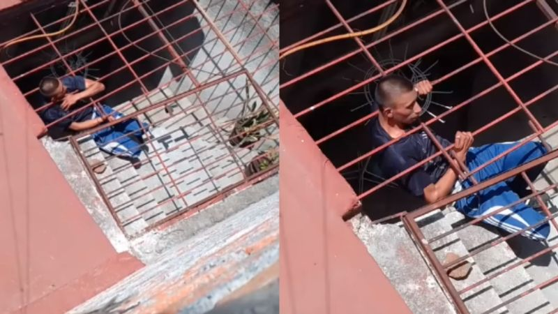 VIDEO: ¡Mala suerte! La cabeza de un ladrón quedó atorada en una reja y no pudo huir