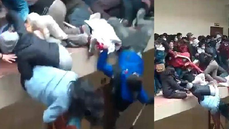 FUERTE VIDEO: Estudiantes caen del cuarto piso y mueren cinco; protestaban en universidad
