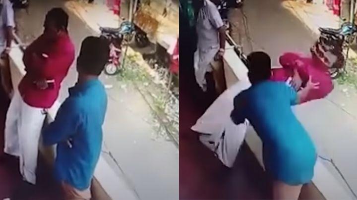 VIDEO: ¡Héroes! Personas trabajan en equipo y evitan que un hombre caiga de un edificio