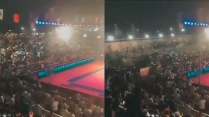 VIDEO: ¡Lamentable! Desplome de grada en evento deportivo deja más de 100 heridos