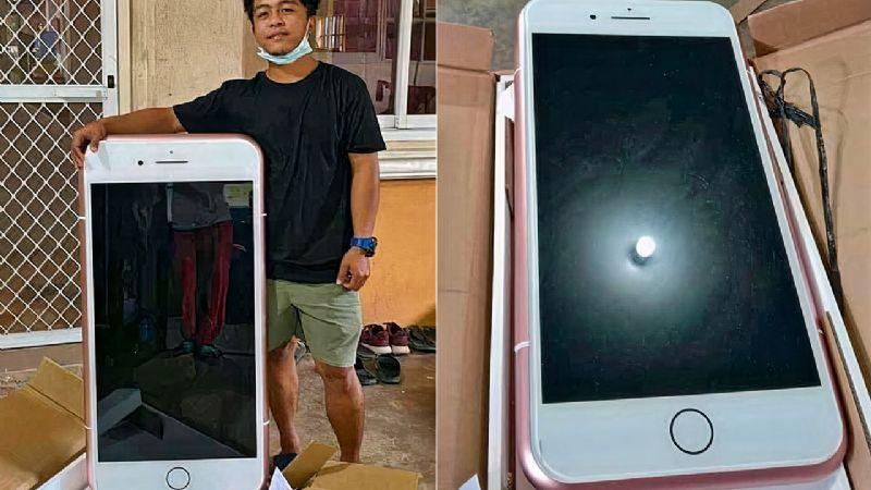 Ordena un iPhone por Internet y le llega una mesa para el café con la forma del smartphone