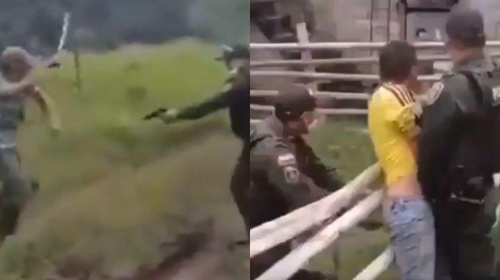 VIDEO: Se desata fuerte enfrentamiento; campesino ataca con machete a un policía