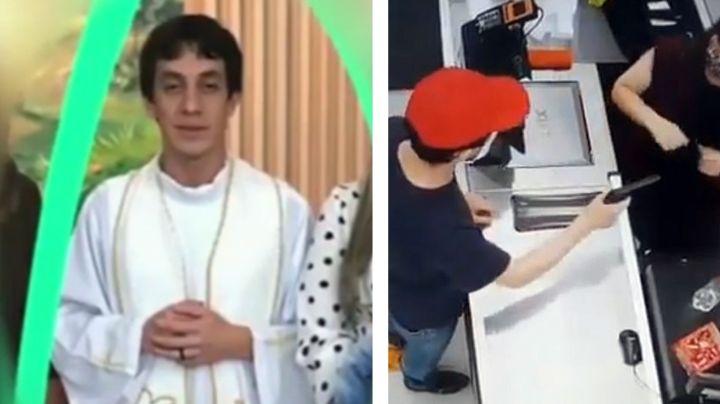 ¡Ver para creer! Sacerdote asalta tres tiendas con arma de juguete y lo captan en VIDEO