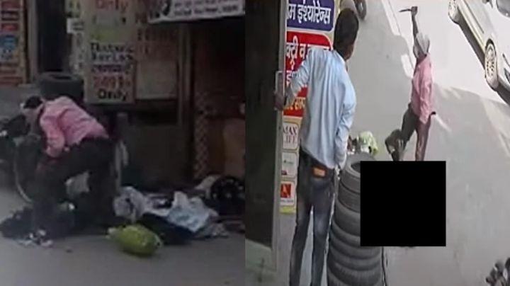 FUERTE VIDEO: A plena luz del día y en vía pública, mata de 25 puñaladas a su esposa por celos