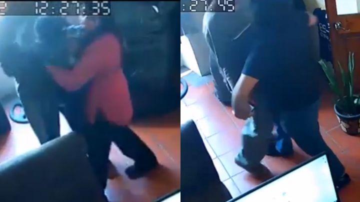 FUERTE VIDEO: Regidor de Hidalgo golpea a su esposa; peleaban por la custodia de su hijo