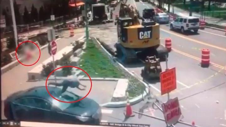 VIDEO: Impactante momento en el que un hombre atropella al asesino de su novia en el Bronx