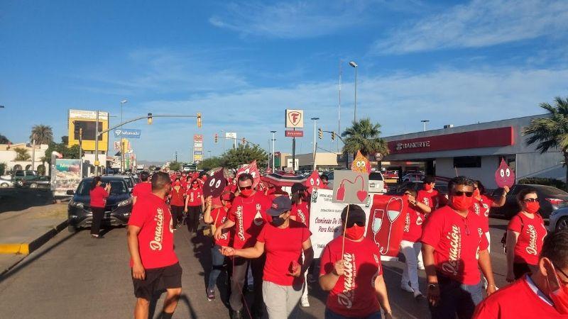 Empleados de salud Cajeme marchan para concientizar sobre la donación altruista de sangre