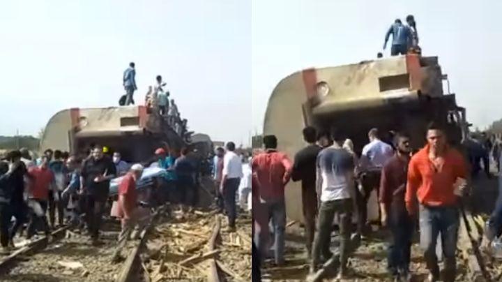 VIDEO: Se descarrila un tren en Egipto y deja 109 heridos; es el accidente más grave de abril