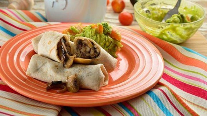 ¡Exquisito! Aprende a preparar un rico y saludable burrito de champiñón con queso