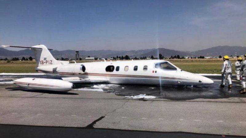 VIDEO: Por aterrizaje de emergencia, cierran pista de Aeropuerto de Toluca