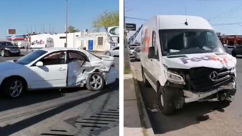 No respeta preferencia y choca contra vehículo de paquetería en Ciudad Obregón; hay un herido