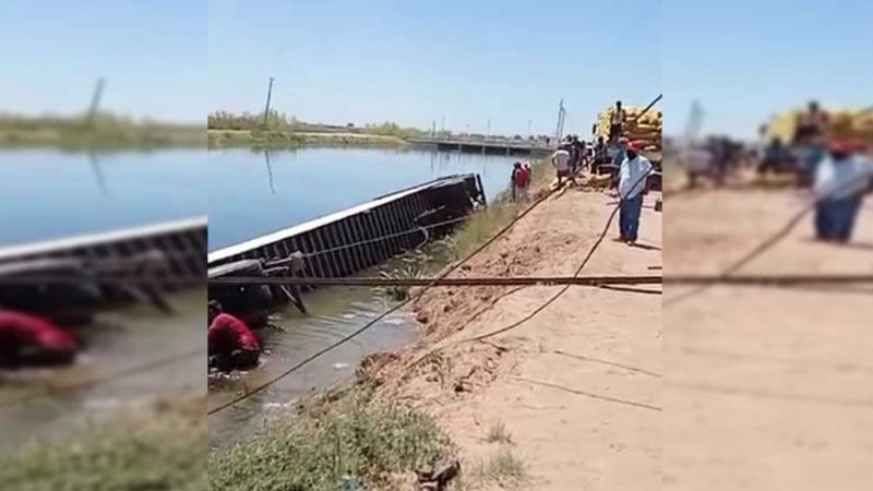 Cajeme: Chofer se salva de morir ahogado tras caer tráiler al Canal Alto