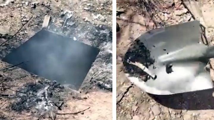 Encuentran pozo ardiente a las afueras de Guaymas; hay multitud de cadáveres calcinados