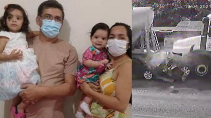 FUERTE VIDEO: ¡Tragedia! Familia entera muere aplastada tras brutal accidente; iban dos bebés