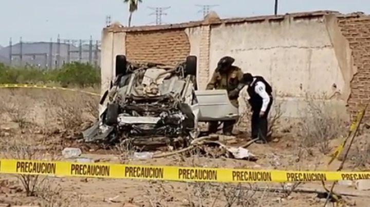 Desafortunado final: Vuelca y muere calcinado dentro de su auto a las afueras de Guaymas