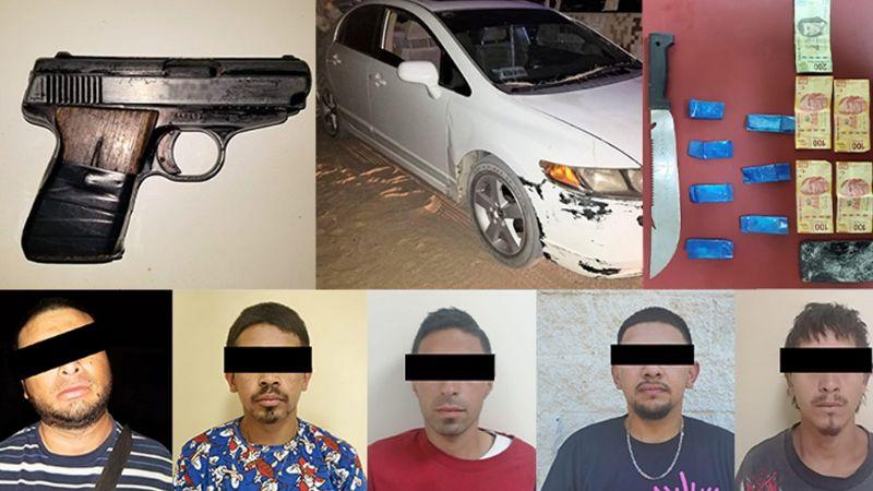 Capturan a cinco delincuentes al norte de Sonora; les aseguran armas de fuego y drogas