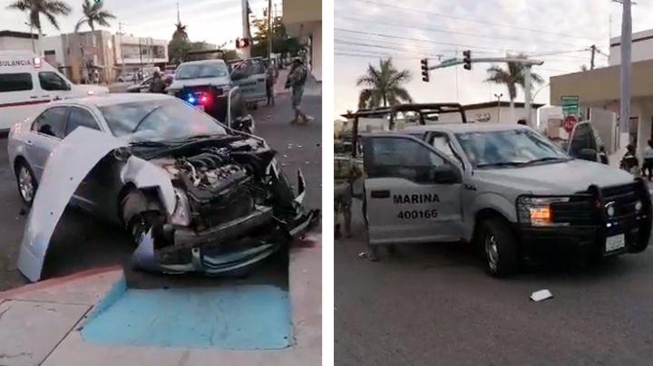 Patrulla de Marina se pasa semáforo y provoca fuerte choque en Ciudad Obregón; hay una herida