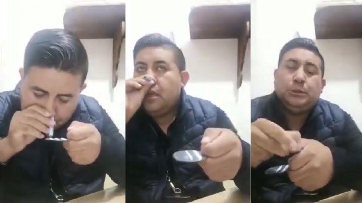 VIDEO: Exhiben a director de Seguridad Pública en Edomex inhalando un polvo blanco