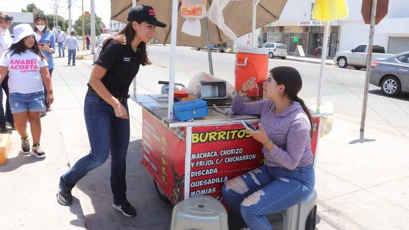 Cajeme: Anabel Acosta escucha a comerciantes locales; buscará reactivación económica