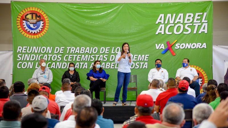 """""""Soy su aliada"""": Anabel Acosta a trabajadores sindicalizados; avanza su campaña en Cajeme"""