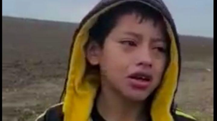 """Abandonan a niño en la frontera: """"Me pueden robar o secuestrar, tengo miedo"""", dice en VIDEO"""