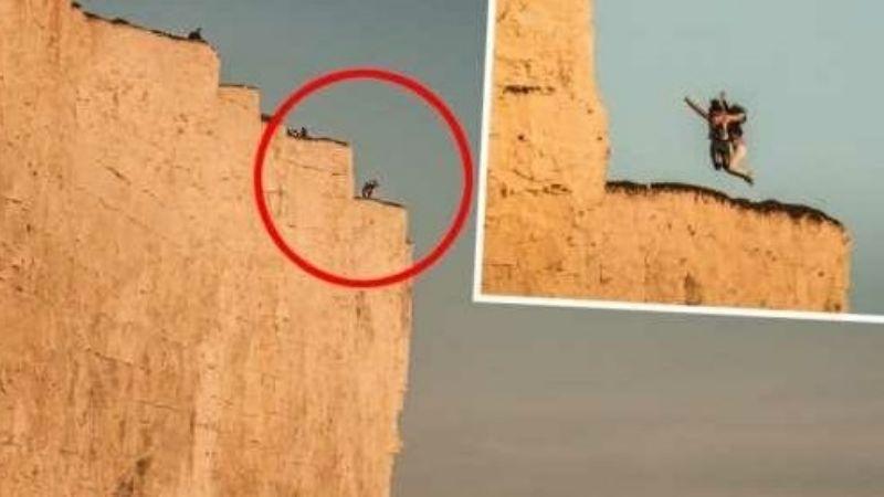 ¡De no creerse! Captan a 2 mujeres arriesgando su vida por una foto a 120 metros de altura