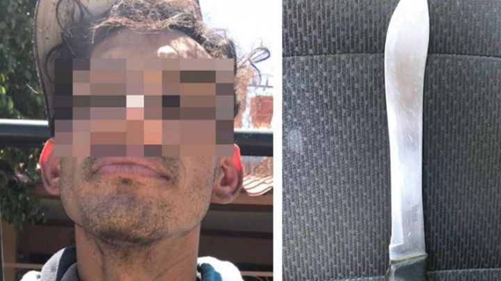 Violento sujeto es capturado en Hermosillo; maltrataba y amenazaba con cuchillo a su familia