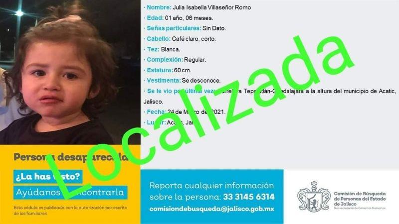 Hallan con vida a Julia Villaseñor, menor de un año desaparecida con su familia en Jalisco