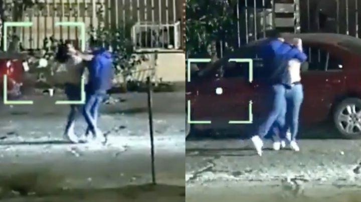 FUERTE VIDEO: Captan brutal ataque a mujer en plena calle de Hermosillo; arrestan al agresor