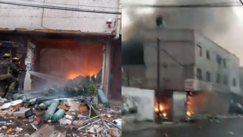 Explota una bodega de tanques de oxígeno en Iztapalapa; una persona perdió la vida