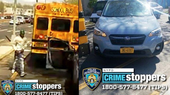 VIDEO: Agresivo conductor atropella al chofer de un autobús escolar y se da a la fuga