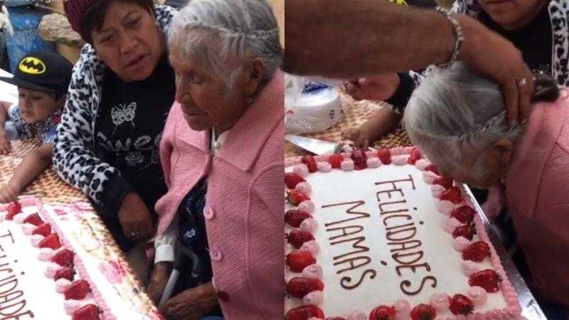 """""""¡Mordida, mordida!"""": Con fuerza empujan a 'abuelita' a su pastel y sale mal"""