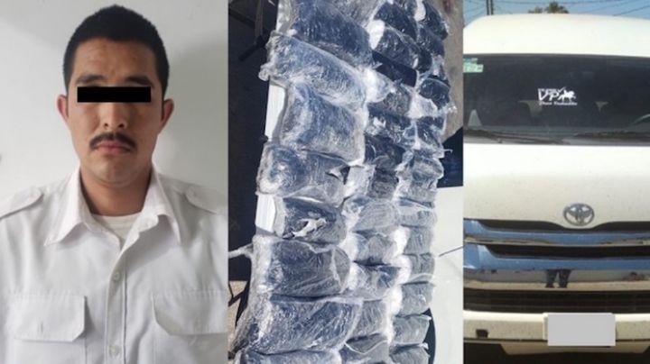 Capturan a hombre en frontera de Sonora; viajaba con más de  22 kilos de metanfetamina