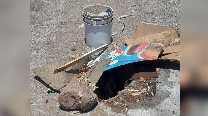 Guaymas: Alcantarilla en mal estado pone en riesgo a los vecinos de la colonia Popular