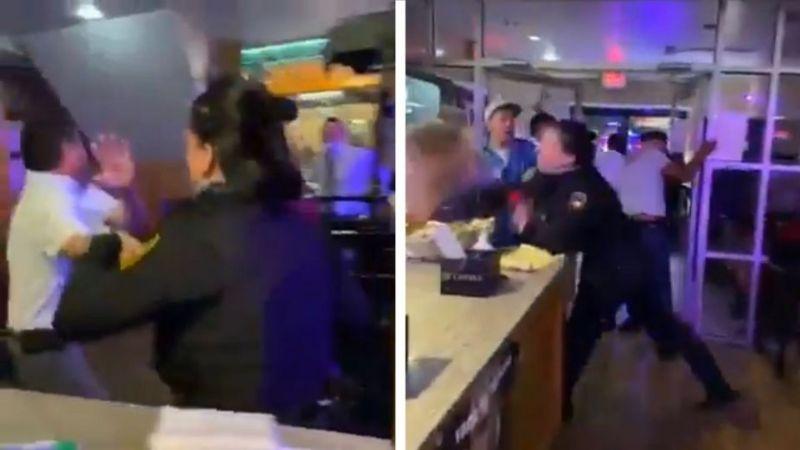 ¡A puño cerrado! Policía responde un enfrentamiento a golpes y VIDEO se hace viral