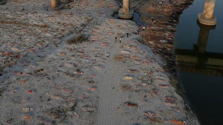 """¡Macabro! India prohíbe """"enterrar"""" cadáveres en el Río Ganges; habrían tirado mil"""