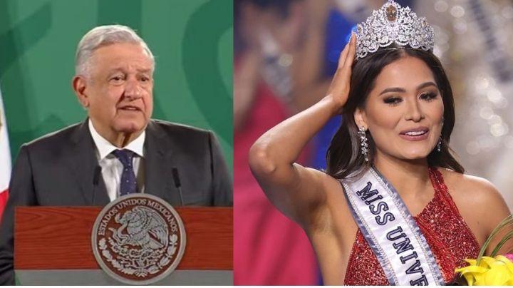 """""""Es la más guapa"""": La felicitación de AMLO a la ingeniera Andrea Meza, Miss Universo 2021"""