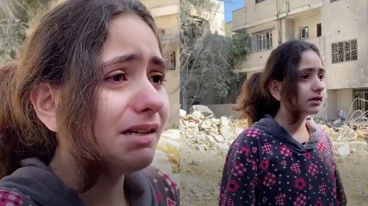 En los escombros, Nadine de 10 años llora y suplica parar ataques en Gaza; padre ve morir a sus 4 hijos
