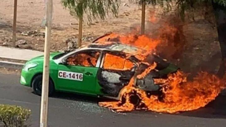 Incendian taxi con bomba molotov en Guanajuato; murió el conductor y hay una pasajera herida