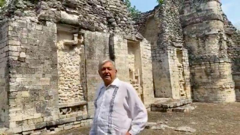 Con VIDEO, AMLO hace de guía en zona maya mientras presume programa Sembrando Vida