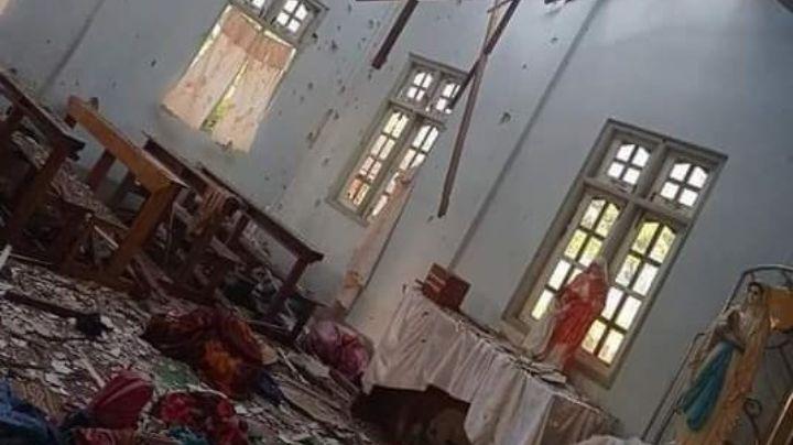 FUERTES IMÁGENES: Ejército lanza explosivos a iglesia en Birmania; hay 4 muertos