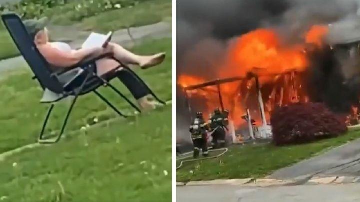 VIDEO: Gail incendia su casa con otra mujer dentro, se siente enfrente y se pone a leer