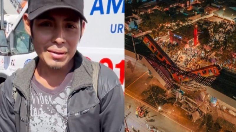 (VIDEO) Miguel dormía bajo el puente del metro que colapsó; con lágrimas narra su experiencia