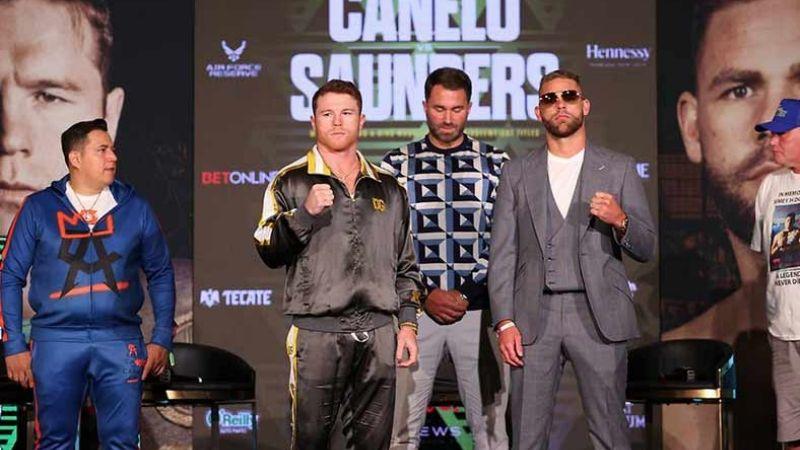 'Canelo' y Saunders tuvieron su último cara a cara previo al pesaje